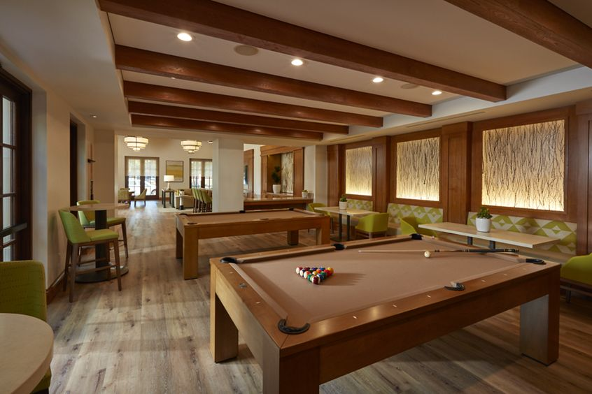 Interior view of Game Room at The Park at Irvine Spectrum Apartment Homes in Irvine, CA.