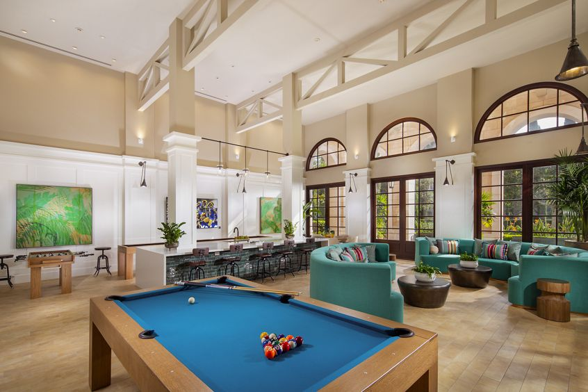 Interior view of End Zone game room at Cambria at The Village at Irvine Spectrum Apartment Homes in Irvine, CA.