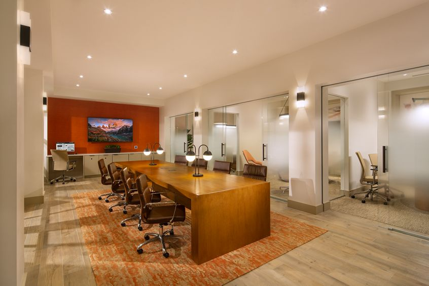 Interior view of Library at Cambria at The Village at Irvine Spectrum Apartment Homes in Irvine, CA.