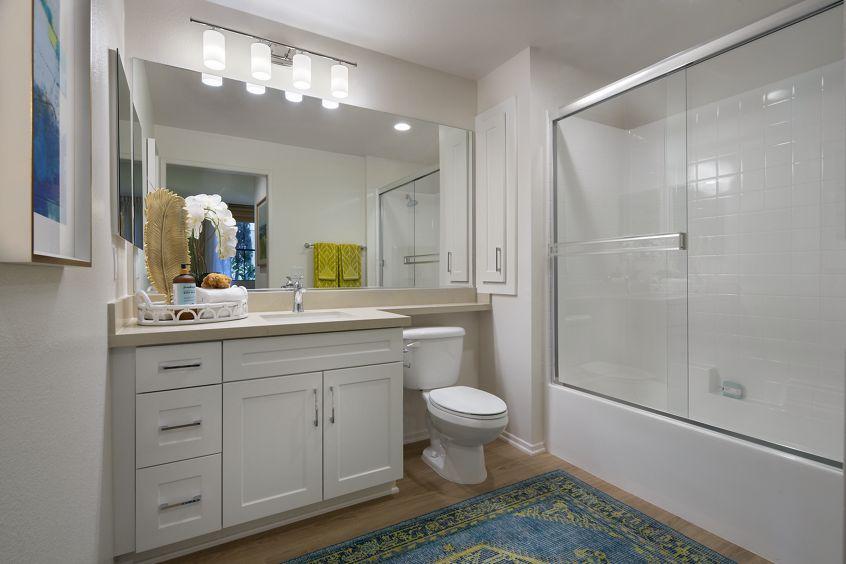 Interior view of bathroom at Cambria at The Village at Irvine Spectrum in Irvine, CA.