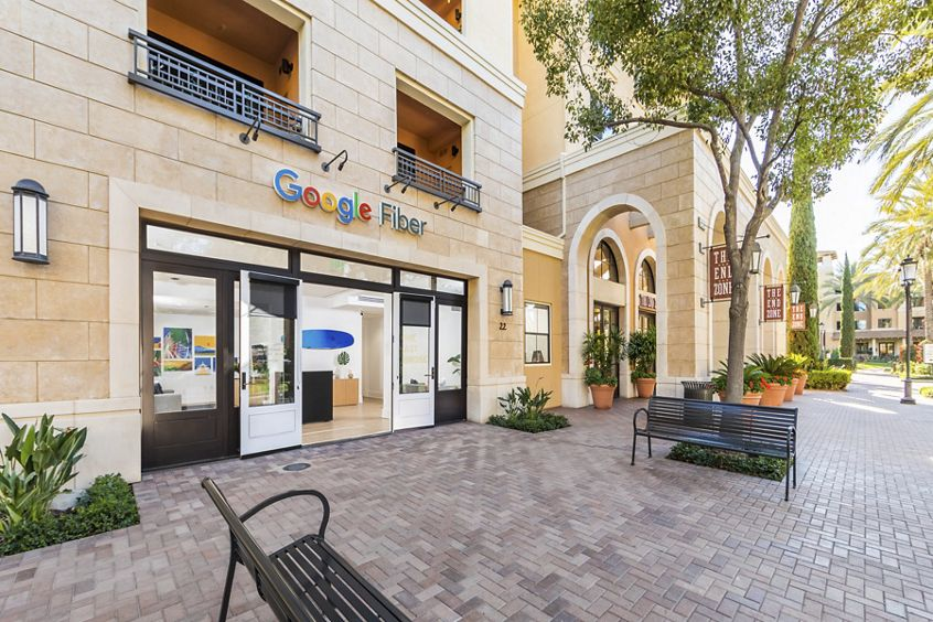 Exterior view of Google Fiber Store at The Village at Irvine Spectrum Apartment Homes in Irvine, CA.
