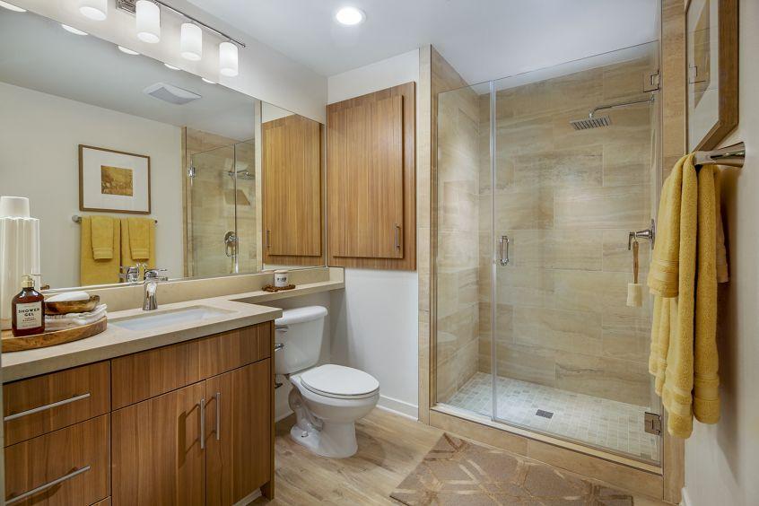 Interior view of bathroom at Delrey at The Village at Irvine Spectrum Apartment Homes in Irvine, CA.