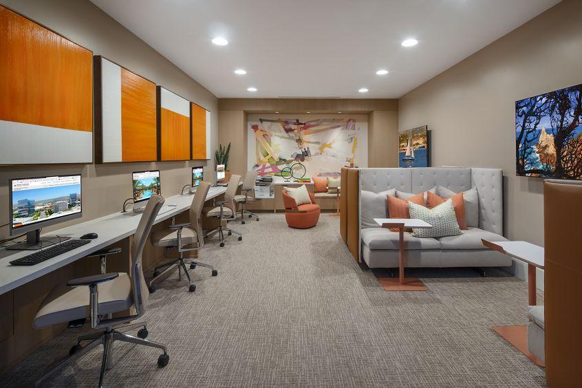 Interior view of iLounge at Delrey at The Village at Irvine Spectrum Apartment Homes in Irvine, CA.