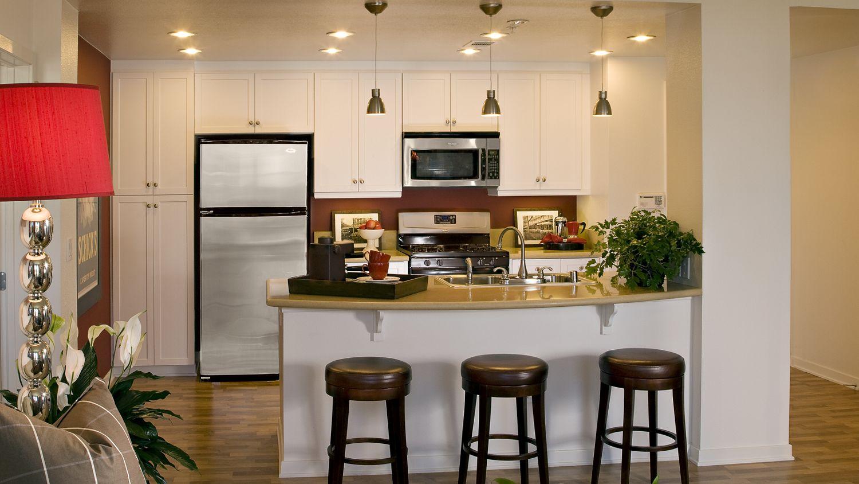 Interior views of kitchen at The Village Delrey at Irvine Spectrum Apartment Homes in Irvine, CA.