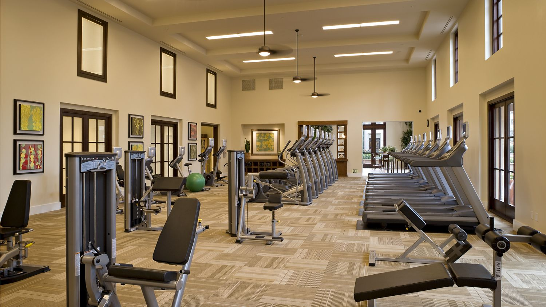 Interior views of fitness center at The Village Delrey at Irvine Spectrum Apartment Homes in Irvine, CA.
