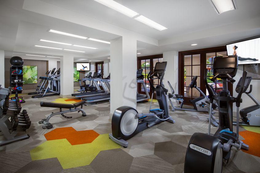 Interior view of fitness center at Mirador at The Village at Irvine Spectrum Apartment Homes in Irvine, CA.