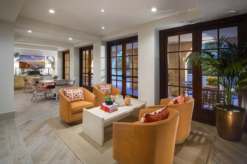 Interior view of clubhouse at Mirador at The Village at Irvine Spectrum Apartment Homes in Irvine, CA.