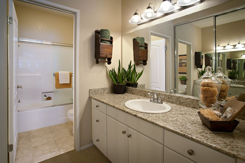 Interior view of bathroom at Turtle Rock Canyon Apartment Homes in Irvine, CA.