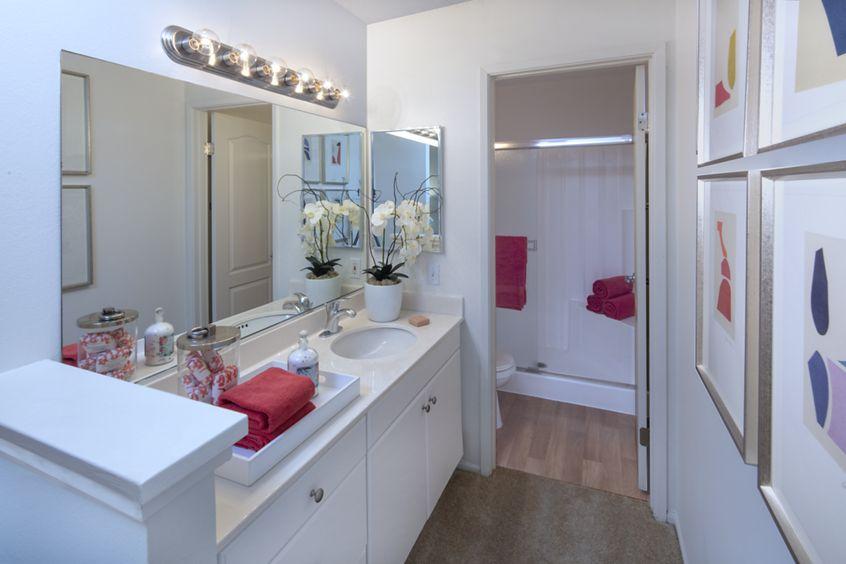 Interior view of bathroom at Turtle Rock Vista Apartment Homes in Irvine, CA.