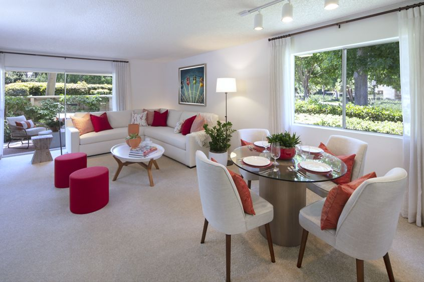 Interior view of living room and dining room at Turtle Rock Vista Apartment Homes in Irvine, CA.