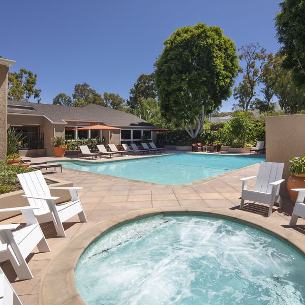 Pool and spa view at Turtle Rock Vista Apartment Homes in Irvine, CA.