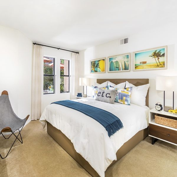 Interior view of bedroom at Berkeley Court Apartment Homes at University Town Center in Irvine, CA.