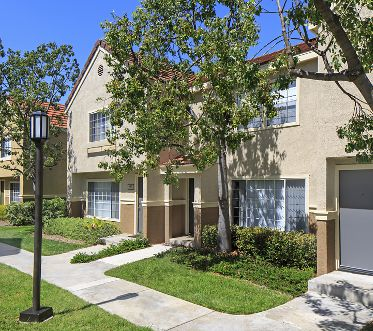 Exterior view of Cornell Court Apartment Homes at University Town Center in Irvine, CA.