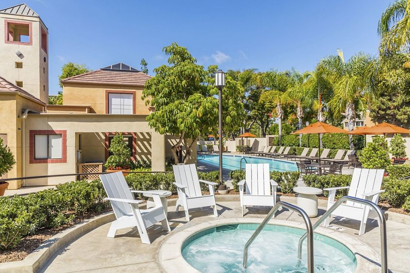 Pool and spa view at Dartmouth Court Apartment Homes at University Town Center in Irvine, CA.