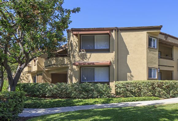 Exterior view of Harvard Court Apartment Homes at University Town Center in Irvine, CA.