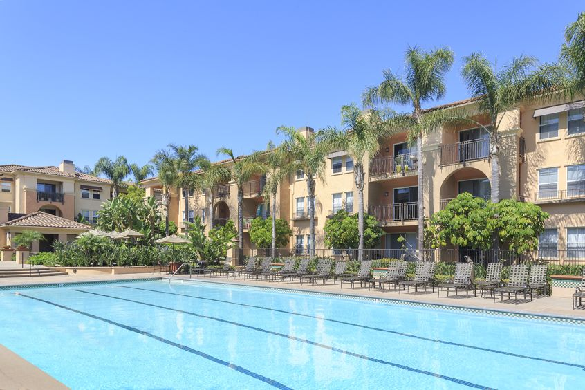 Pool view at Villa Coronado Apartment Homes in Irvine, CA.