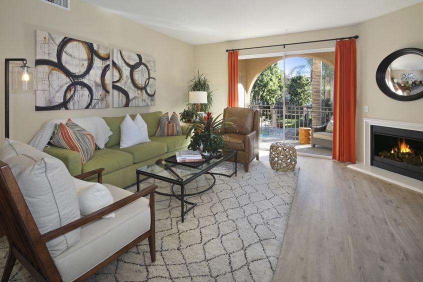 Interior view of living room at Villa Coronado Apartment Homes in Irvine, CA.