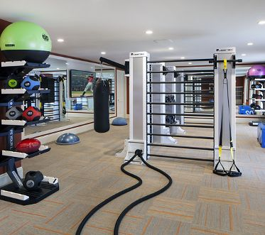 Interior view of fitness center at Villa Siena Apartment Homes in Irvine, CA.