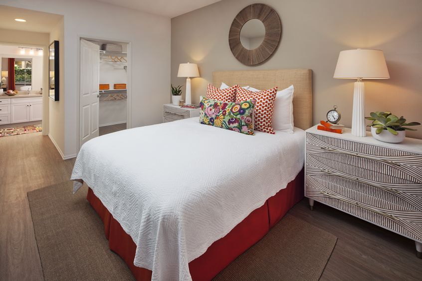 Interior view of bedroom at Villa Siena Apartment Homes in Irvine, CA.