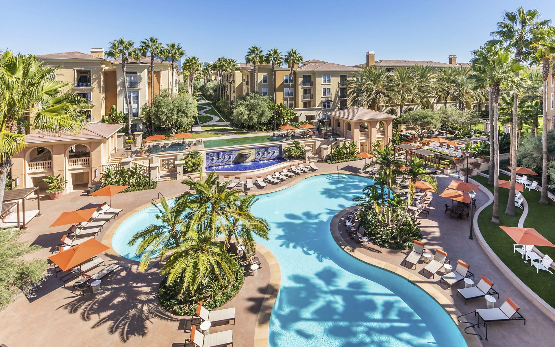 Aerial pool view at Villa Siena Apartment Homes in Irvine, CA.