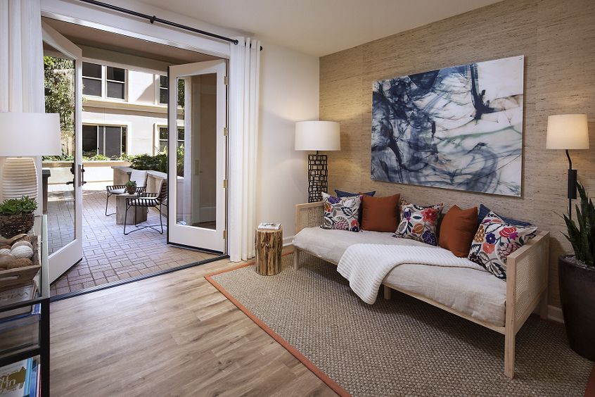 Interior view of living room and patio Westview at Irvine Spectrum Apartment Homes in Irvine, CA.