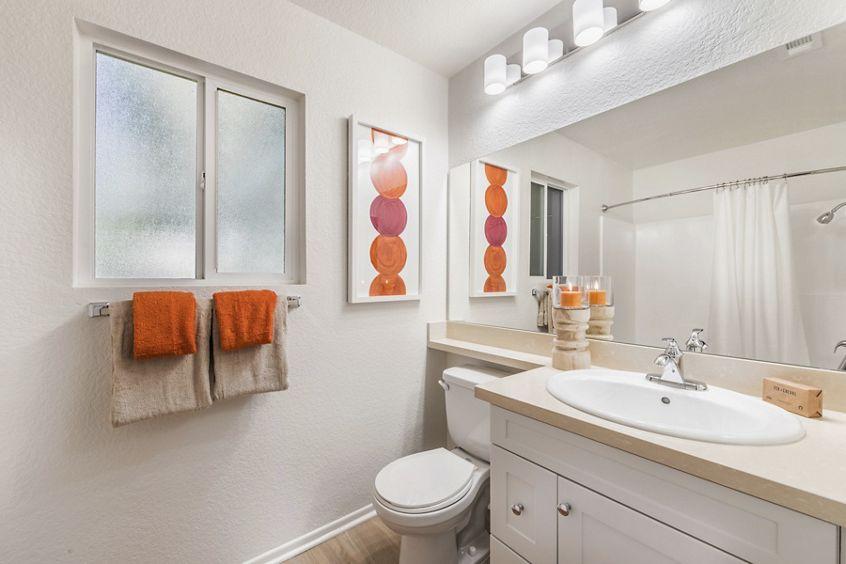 Interior view of Bathroom at Windwood Glen Apartment Homes in Irvine, CA.