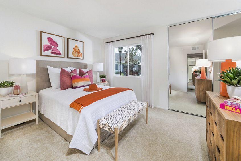 Interior view of Master Bedroom at Windwood Glen Apartment Homes in Irvine, CA.