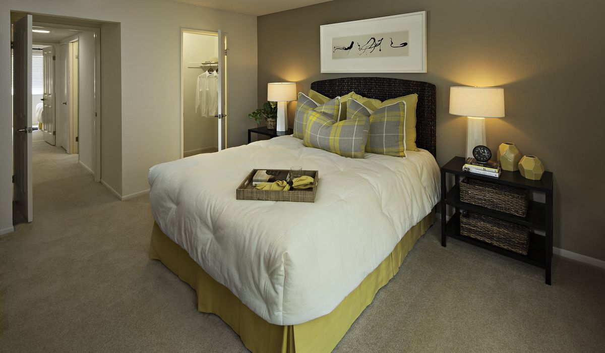 Interior view of bedroom at Windwood Knoll Apartment Homes in Irvine, CA.