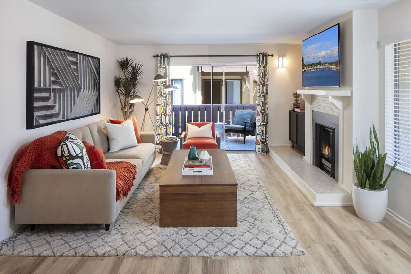 Interior view of living room at Woodbridge Pines Apartment Homes in Irvine, CA.