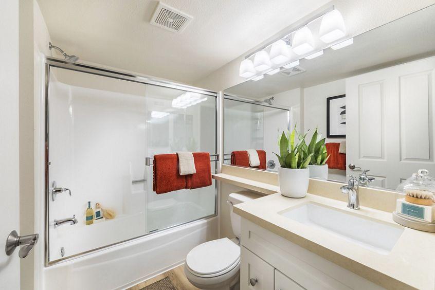 Interior view of bathroom at Woodbridge Pines Apartment Homes in Irvine, CA.