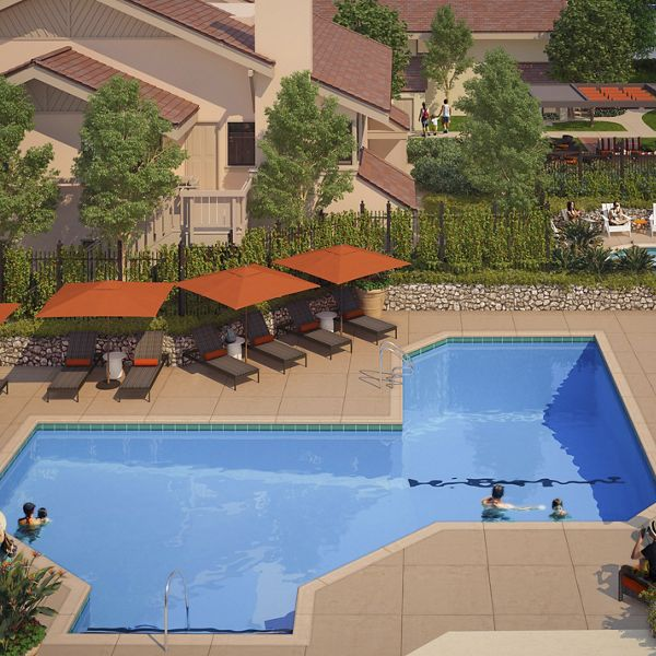 Exterior view of pool at Woodbridge Pines Apartment Homes in Irvine, CA.