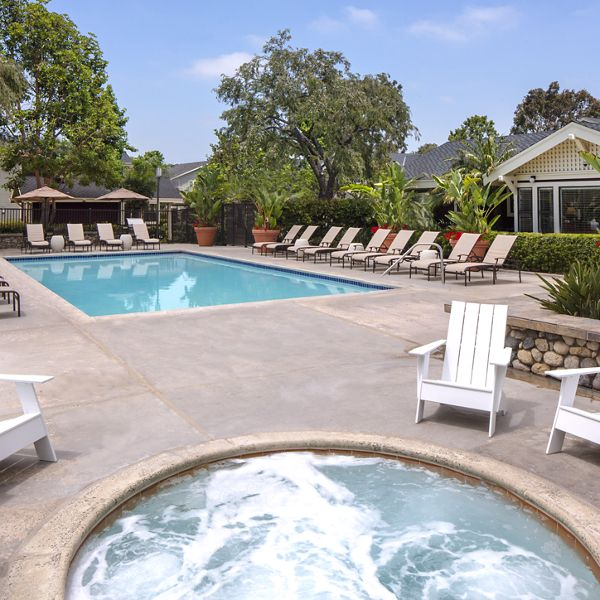 Pool and spa view at Woodbridge Willows Apartment Homes in Irvine, CA.