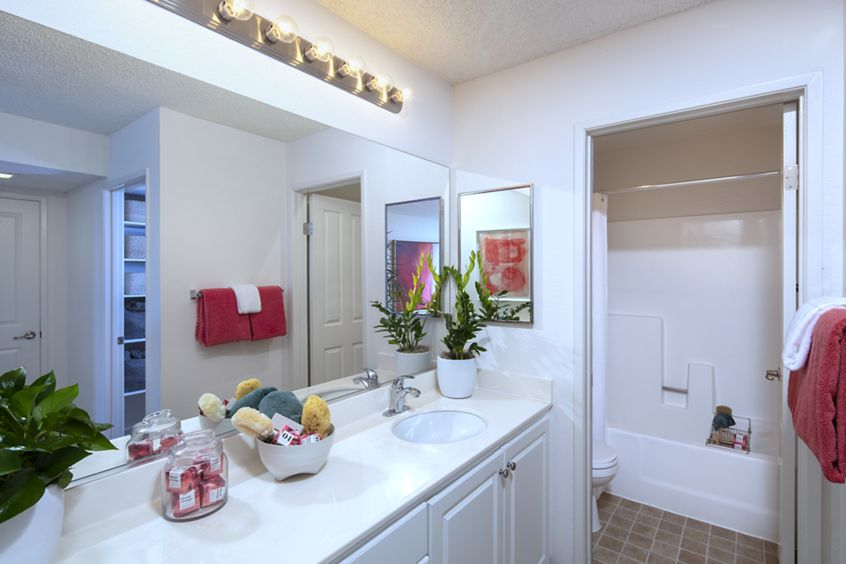 Interior view of bathroom at Woodbridge Willows Apartment Homes in Irvine, CA.