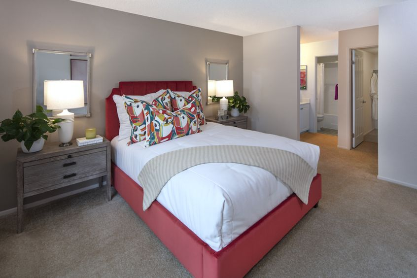 Interior view of bedroom at Woodbridge Willows Apartment Homes in Irvine, CA.