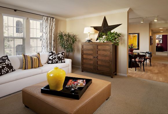 Interior view of living room at Woodbury Lane Apartment Homes in Irvine, CA.