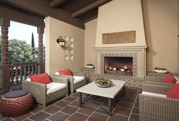 Exterior view of balcony at Woodbury Place Apartment Homes in Irvine, CA.