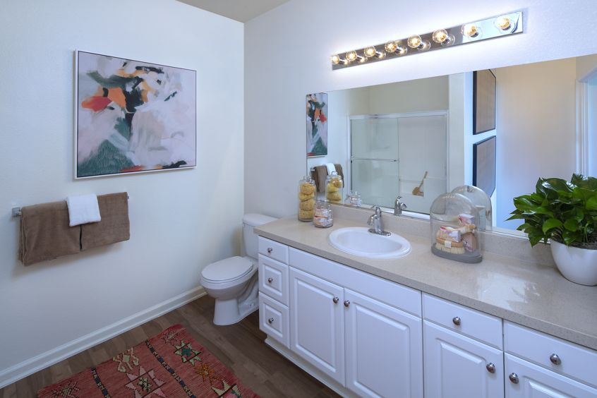 Interior view of bathroom at Vista Real Apartment Homes in Mission Viejo, CA.