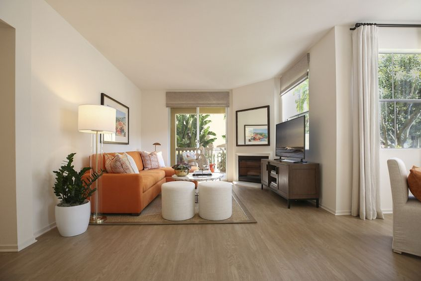 Interior view of living room at Baypointe Apartment Homes in Newport Beach, CA.