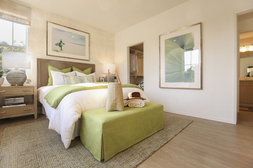 Interior view of bedroom at Baypointe Apartment Homes in Newport Beach, CA.