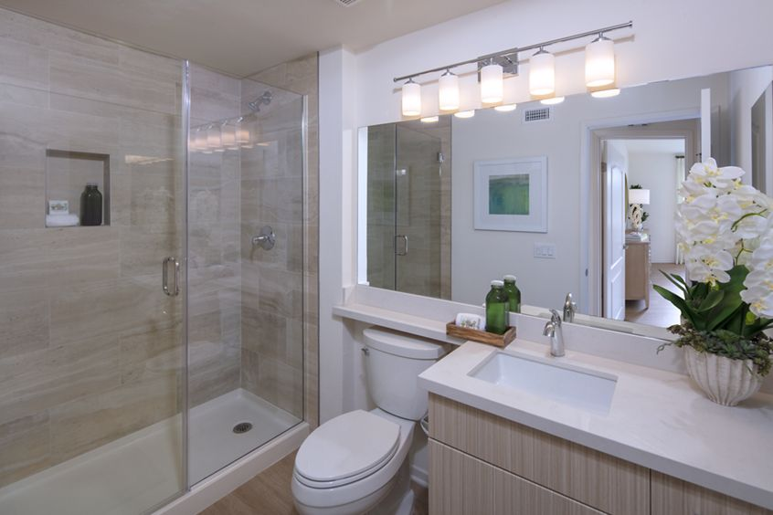 Interior view of bathroom at Baypointe Apartment Homes in Newport Beach, CA.