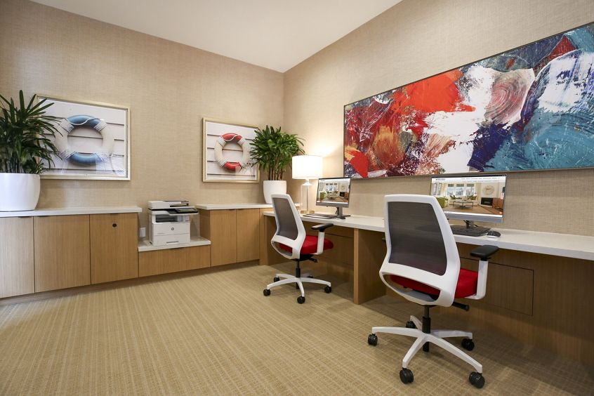 Interior view of business center at Baypointe Apartment Homes in Newport Beach, CA.