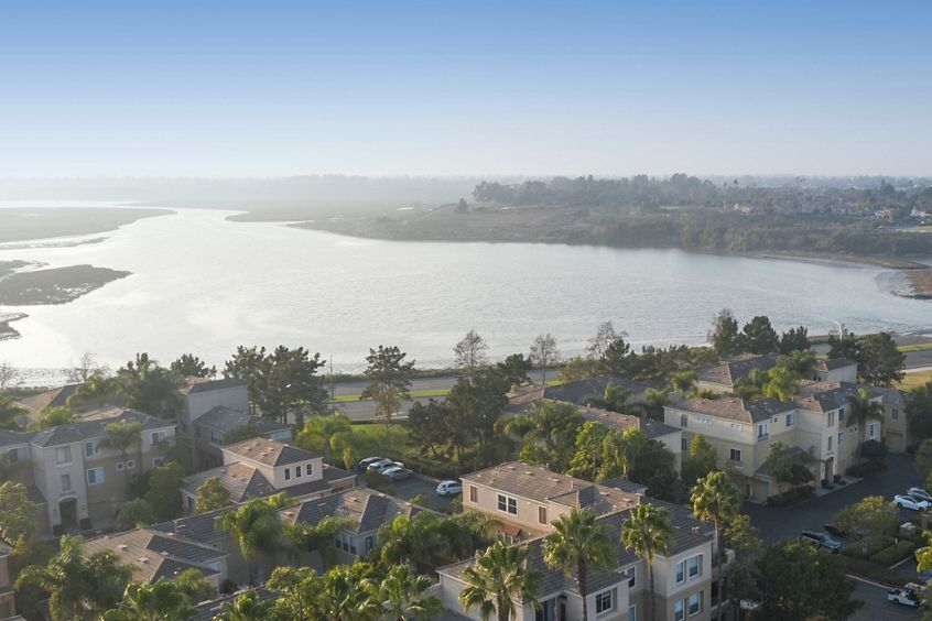 Aerial view of Baypointe Apartment Homes in Newport Beach, CA.