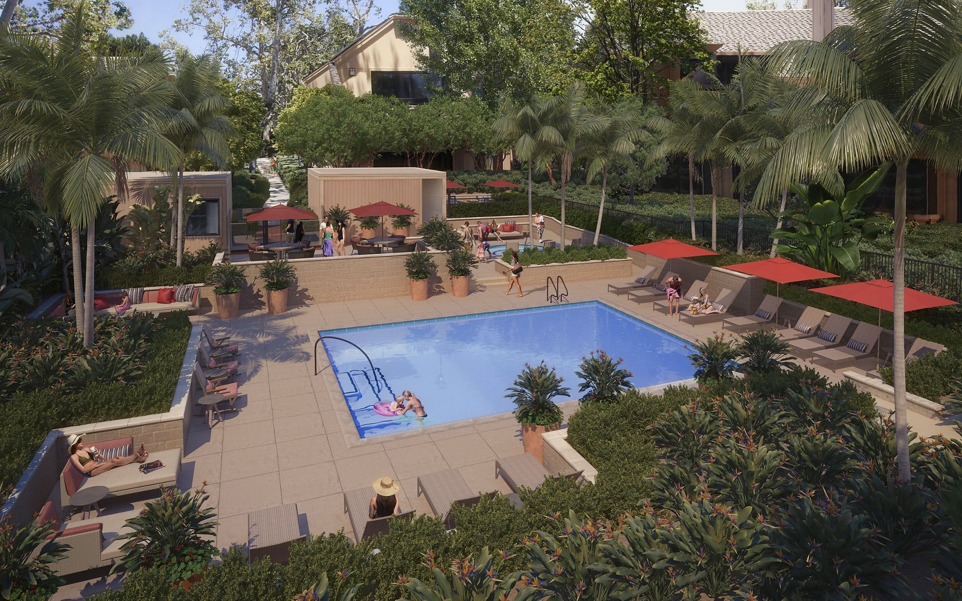 Rendering of secondary pool at The Bays Apartment Homes in Newport Beach, CA.