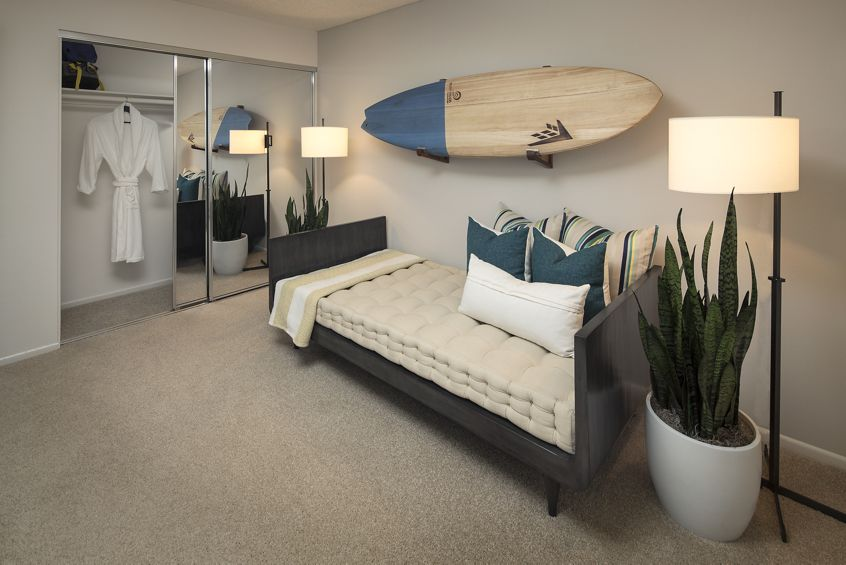 Interior view of bedroom at The Bays Apartment Homes in Newport Beach, CA.