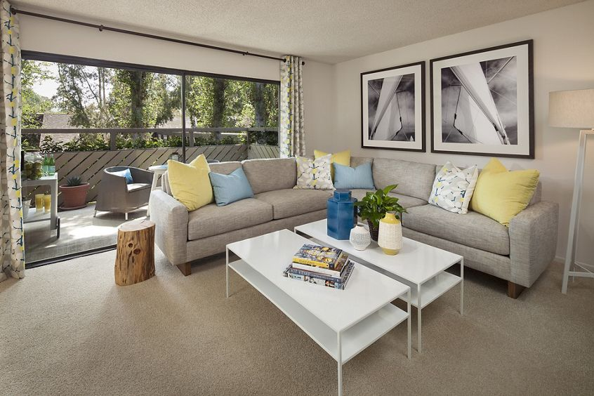 Interior view of living at The Bays Apartment Homes in Newport Beach, CA.