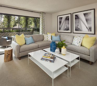Interior view of living room at The Bays Apartment Homes in Newport Beach, CA.