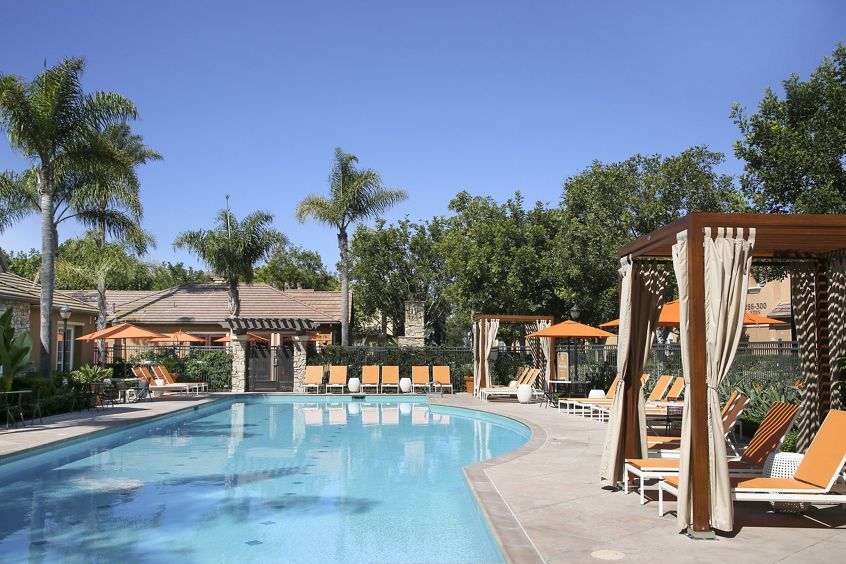 Pool view at Bordeaux Apartment Homes in Newport Beach, CA.