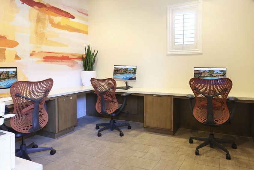 Interior view of Business Center at Bordeaux Apartment Homes in Newport Beach, CA.