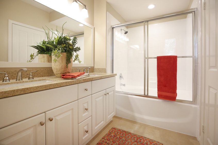 Interior view of bathroom at Bordeaux Apartment Homes in Newport Beach, CA.