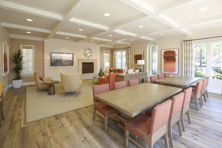 Interior view of Clubhouse at Bordeaux Apartment Homes in Newport Beach, CA.